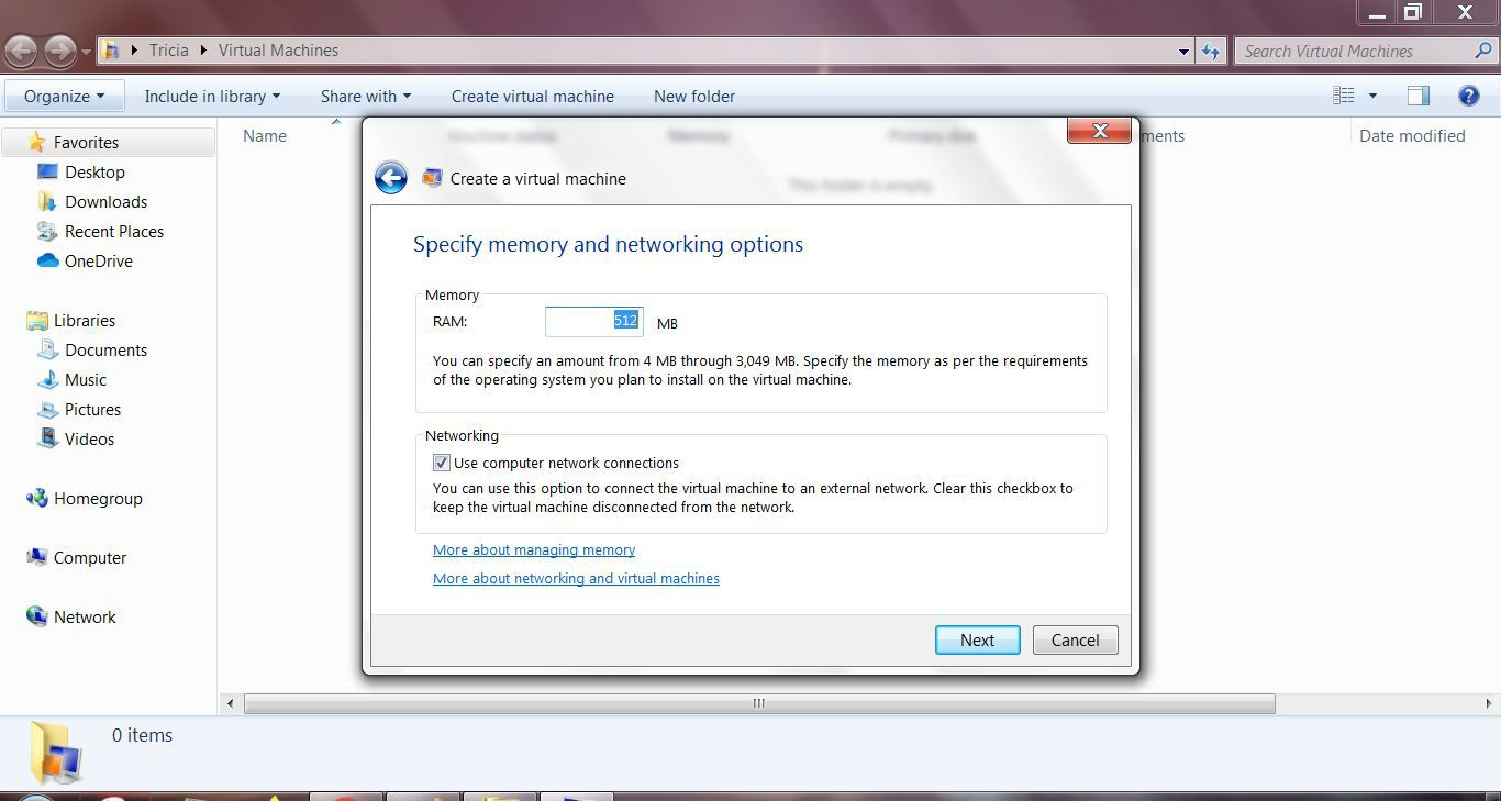 Specify memory and networking options