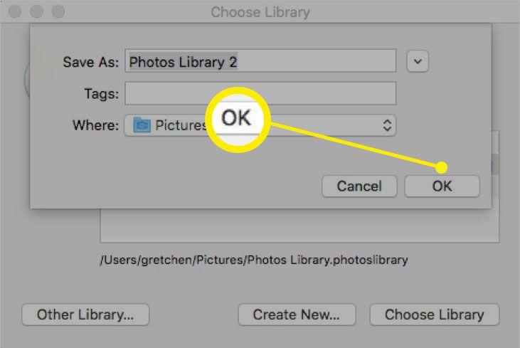 Screenshot of naming new Photos library