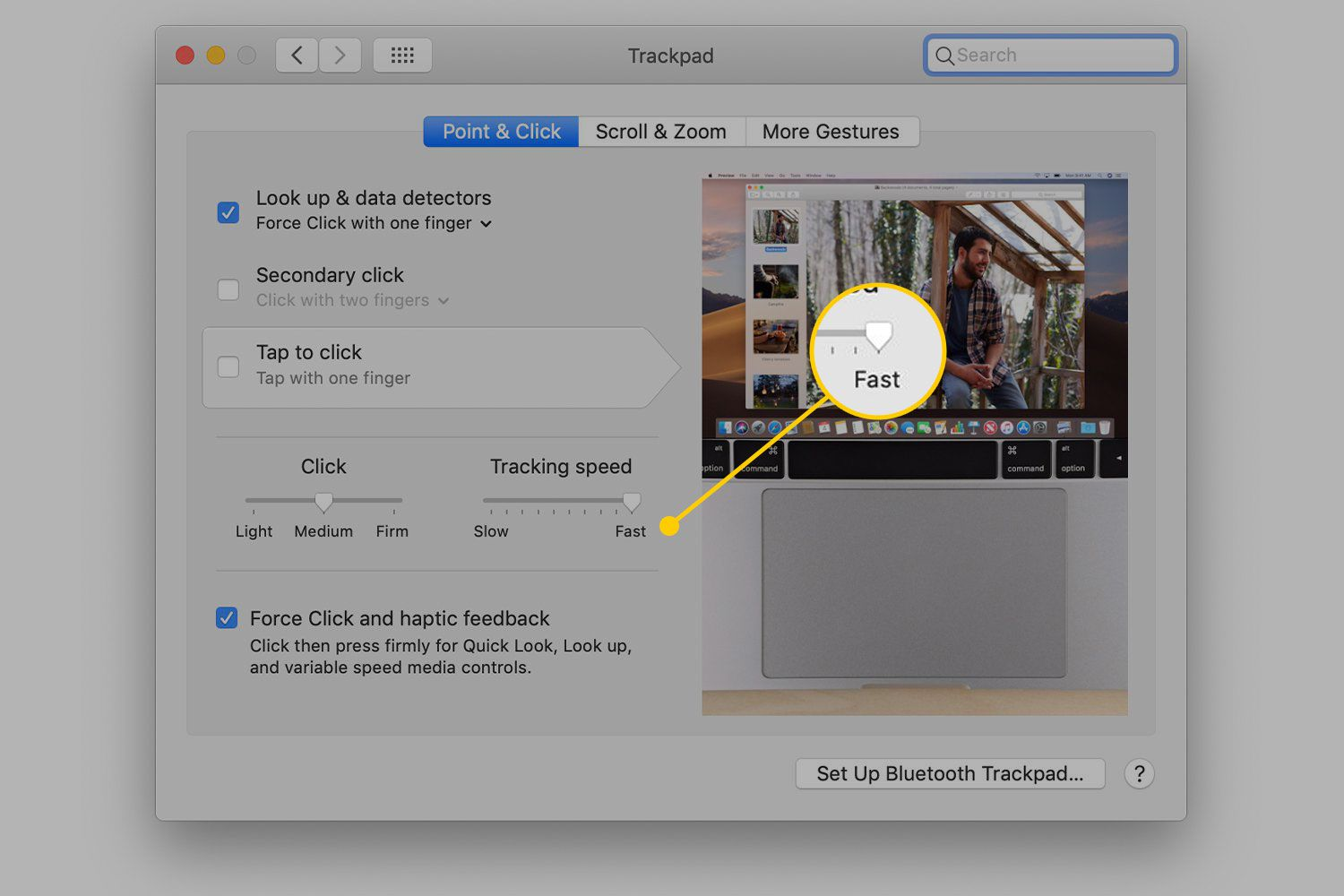 Tracking speed in Trackpad settings on Mac