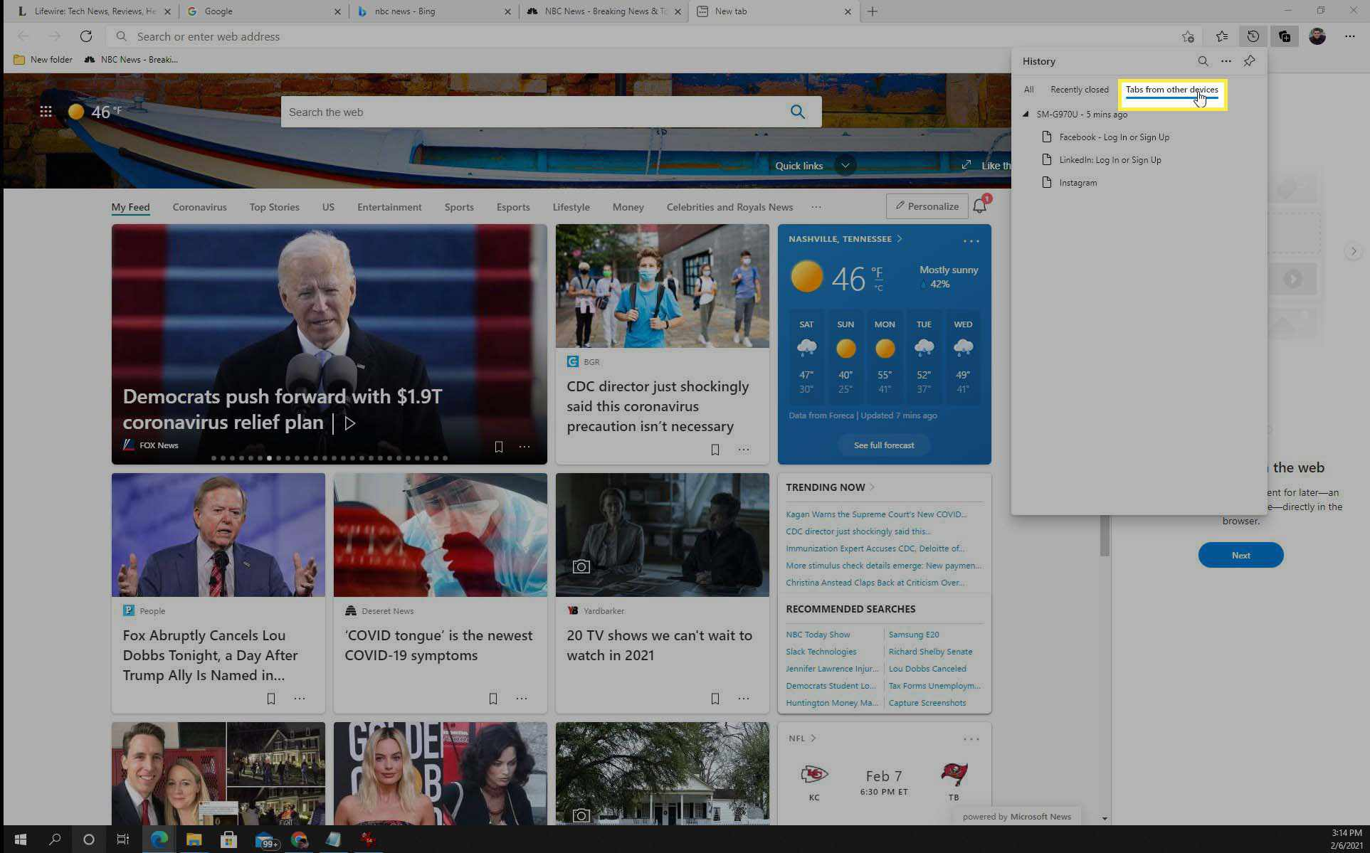 Showing open tabs in Edge browser.
