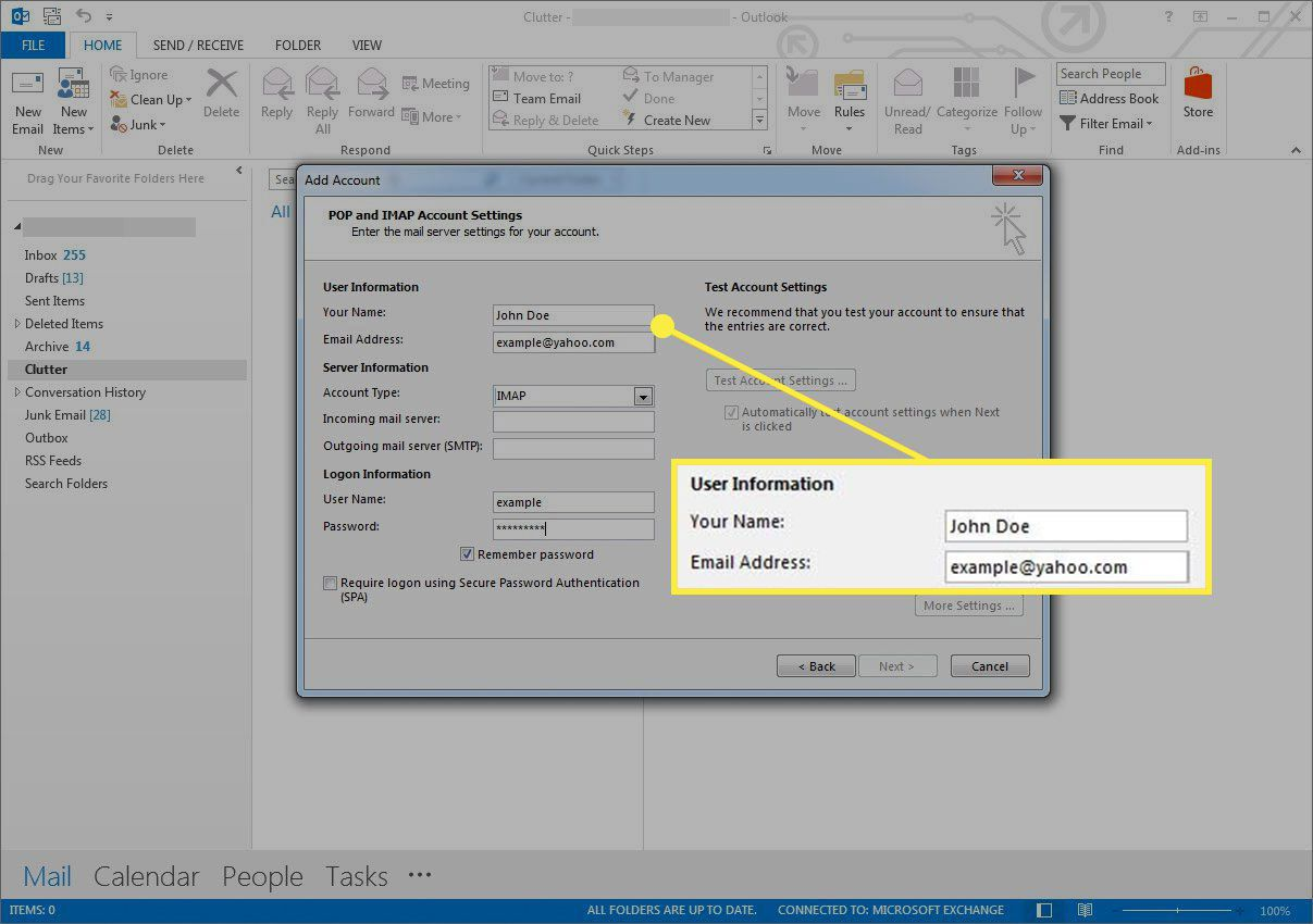 Account information in Outlook account setup