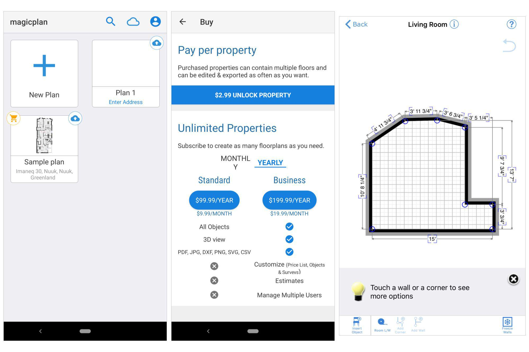 3 screenshots: Initial magicplan screen, showing plans; Pricing detail screen for upgrades; Sample floor plan after scan.