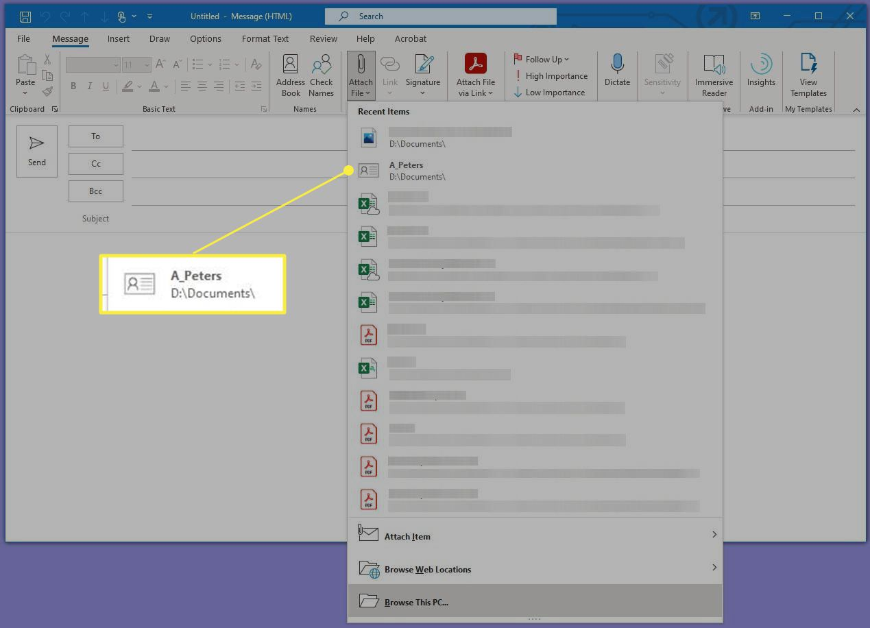 Microsoft Outlook Attach File Recent Items List with a Vcard highlighted