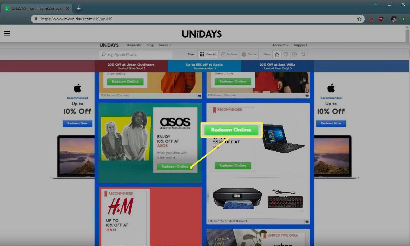 Unidays Redeem online button