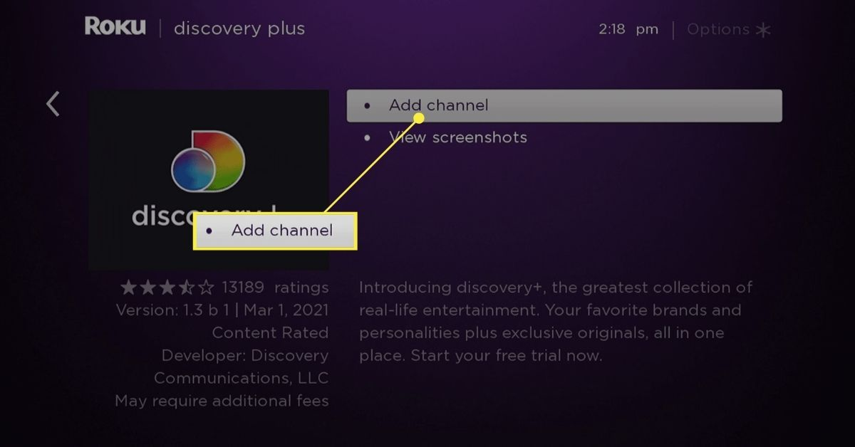 Add Channel button on Roku for Discovery Plus