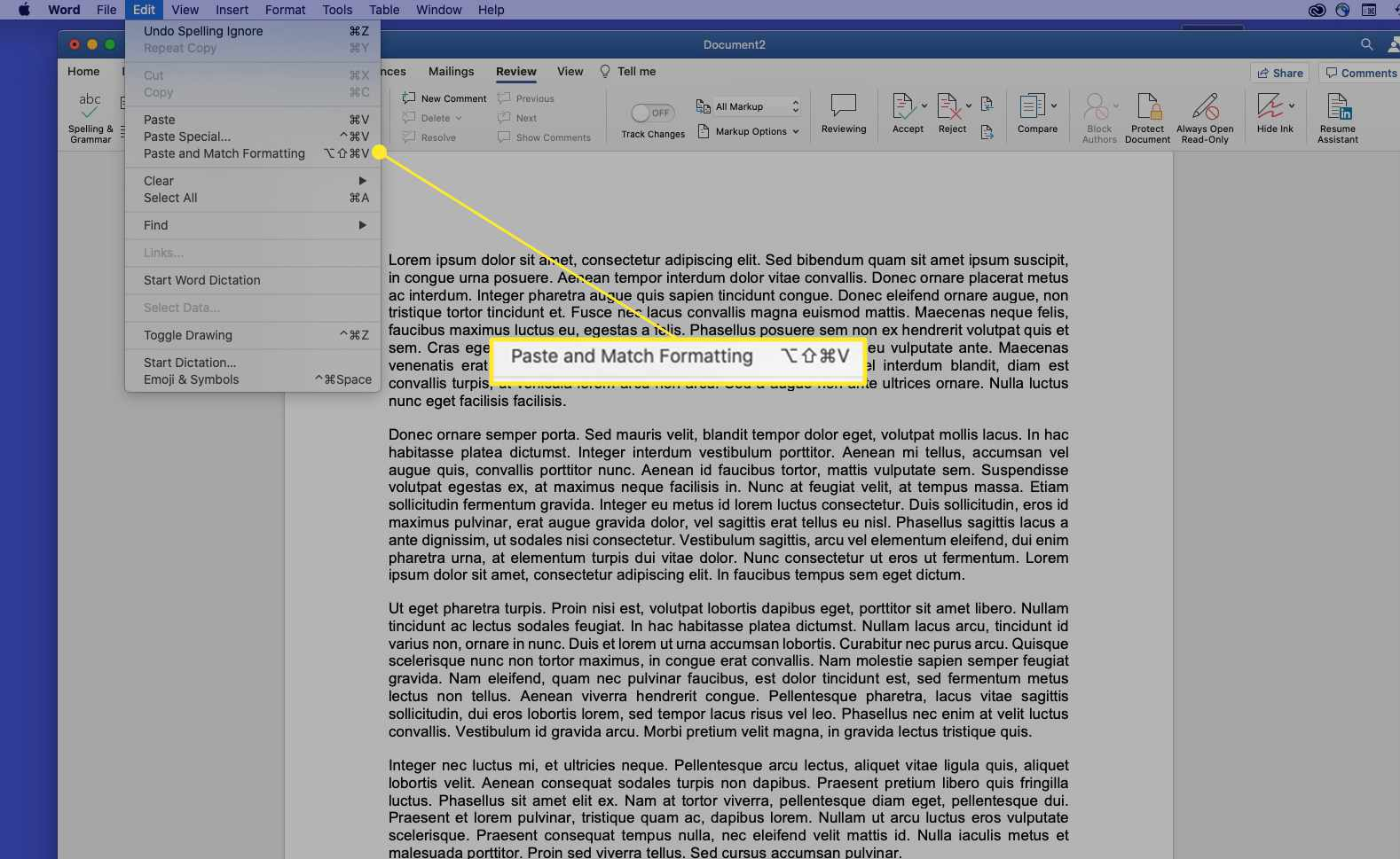 Paste and Match Formatting highlighted in Word for Mac