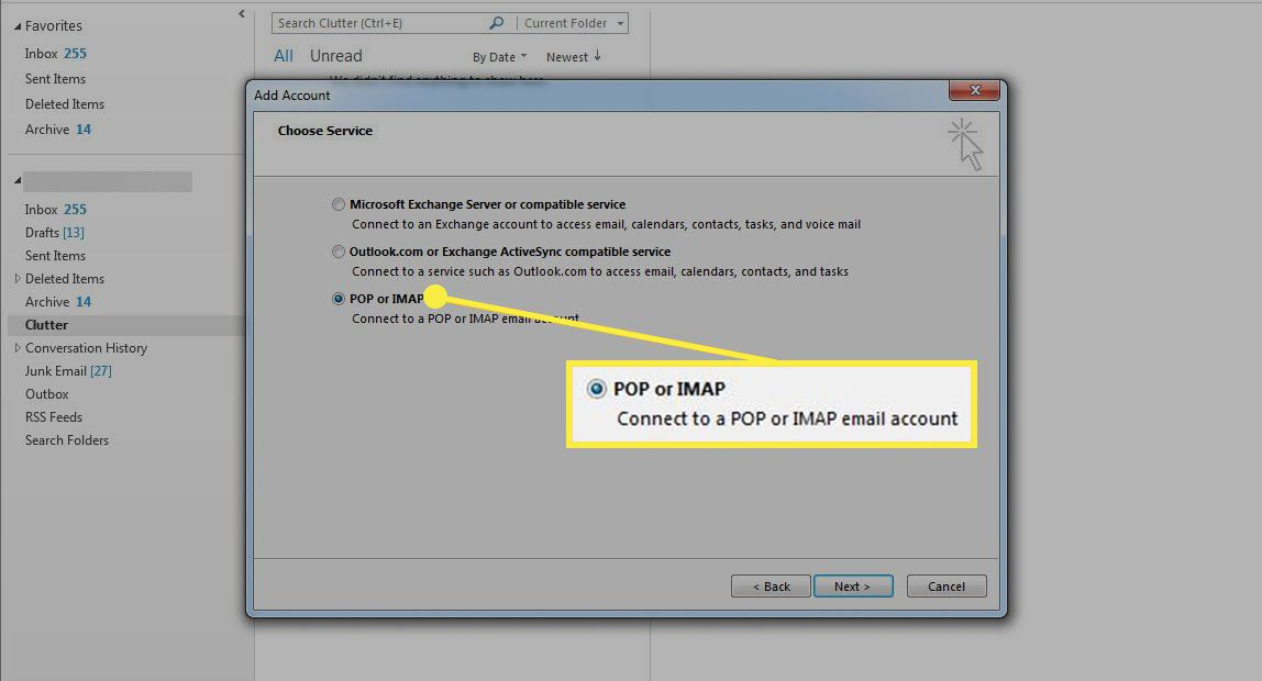 The POP or IMAP option in Outlook account setup