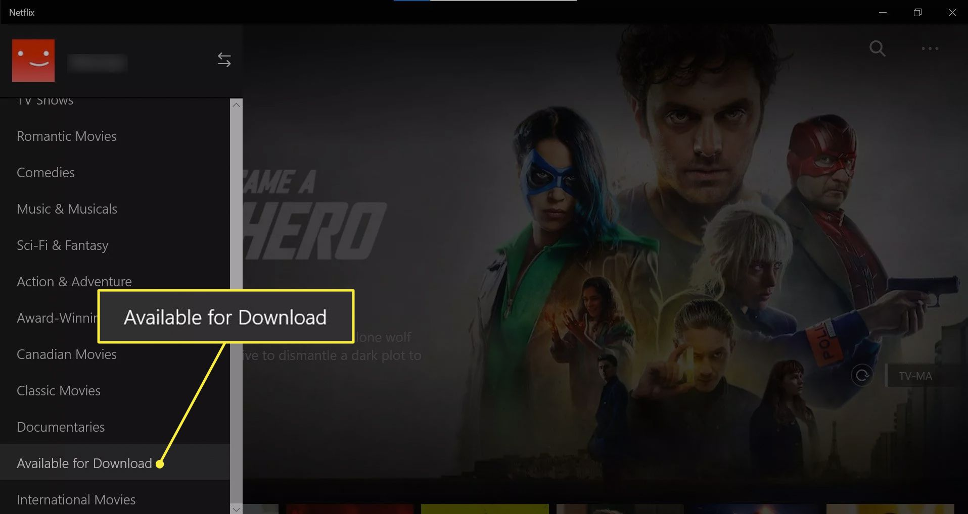Available for Download option in Netflix Windows app.