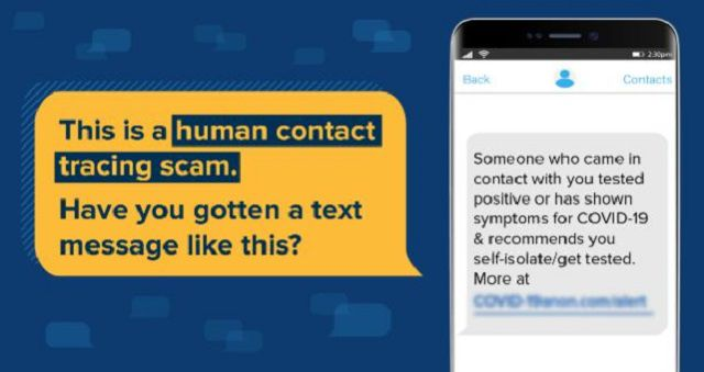 A sample contact tracing scam text.