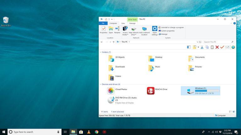 File Explorer view on Windows 10 showing C drive with free space