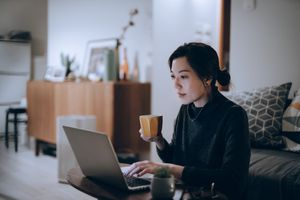 Woman on Macbook