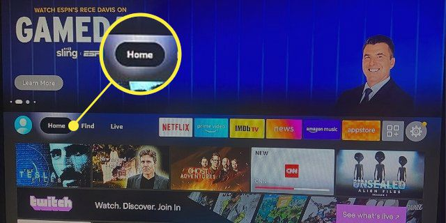 Fire Stick screen with the Home Button highlighted