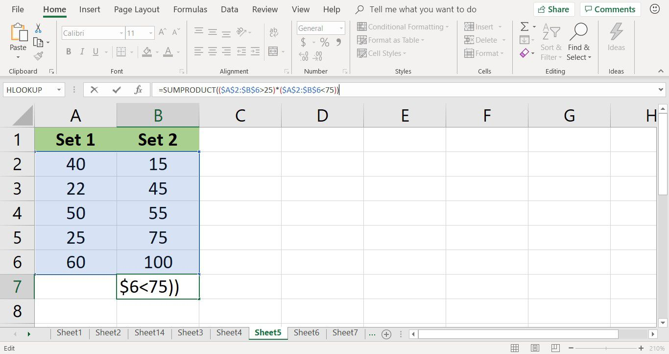 Screenshot showing the completed SUMPRODUCT function in Excel