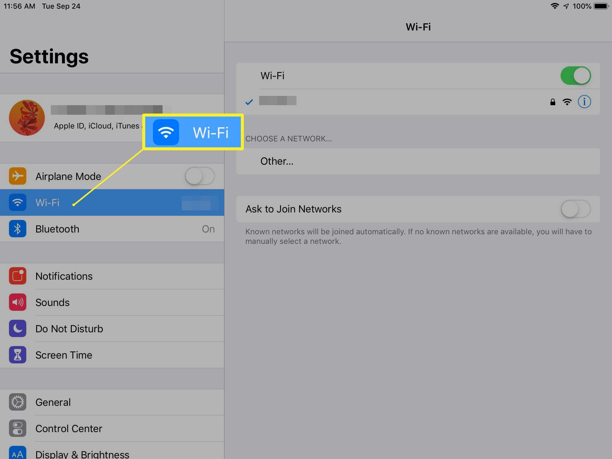 Wi-Fi settings on iPad