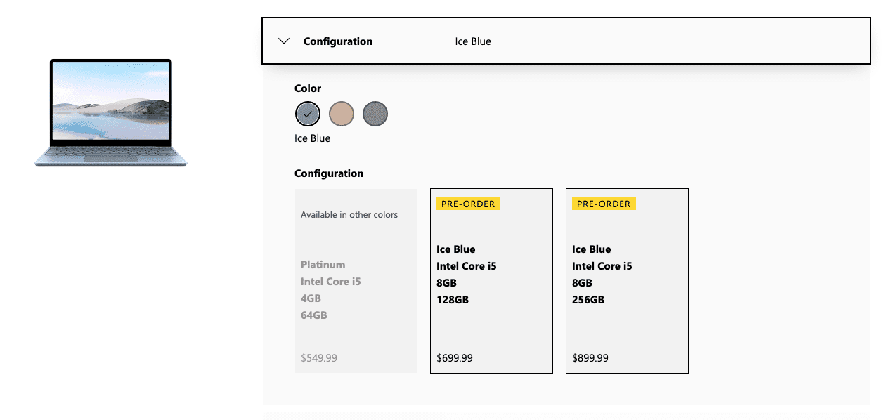 Surface Laptop Go pre-order and configuration screen