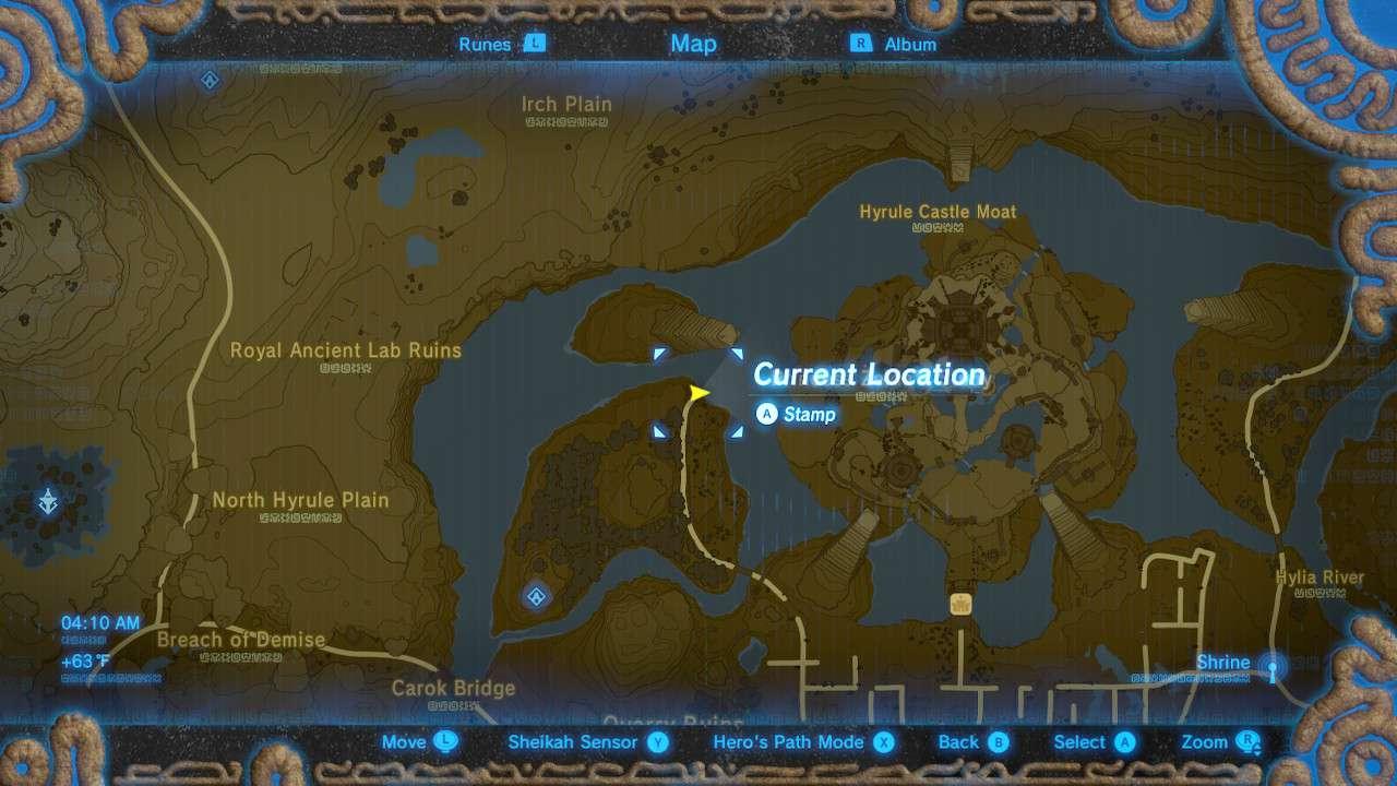 Map of Hyrule Castle Moat in The Legend of Zelda: Breath of the Wild.