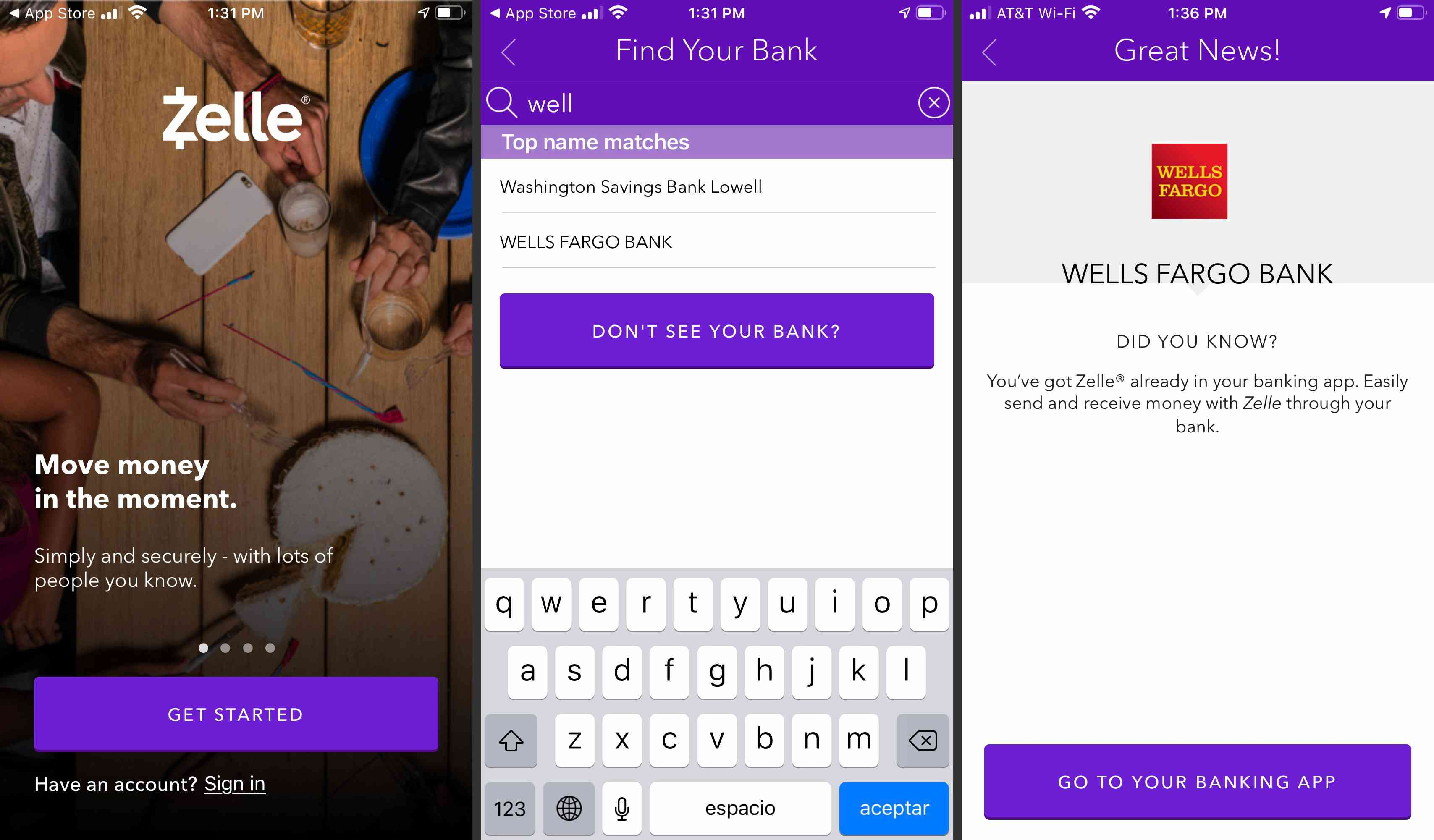 Zelle App banking and transfer screens