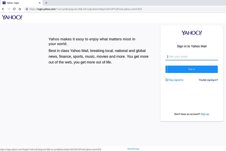 Screenshot of Yahoo! Mail sign in screen, with
