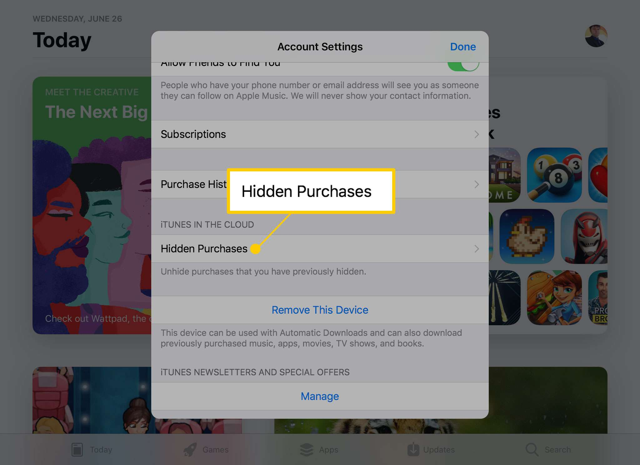 The Hidden Purchases option in the App Store on iPad
