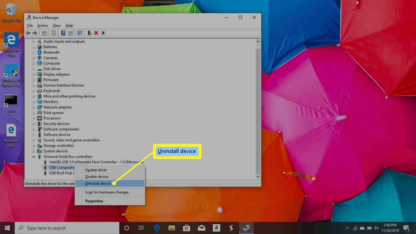 Uninstall Device option in Windows 10
