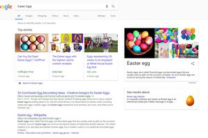Screenshot of Google search results for Easter Eggs