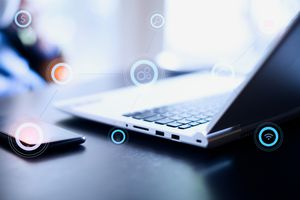 Image of a laptop using a wireless network