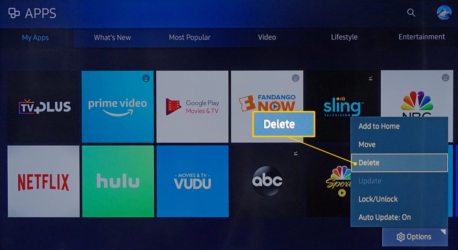 Samsung My Apps – Select Delete in Options