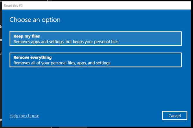 File options in the Reset this PC dialog.
