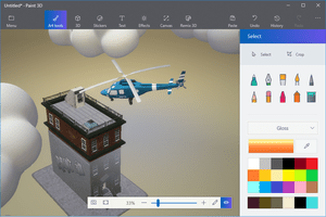 Screenshot of Paint 3D models including clouds, 3D text, and a helicopter