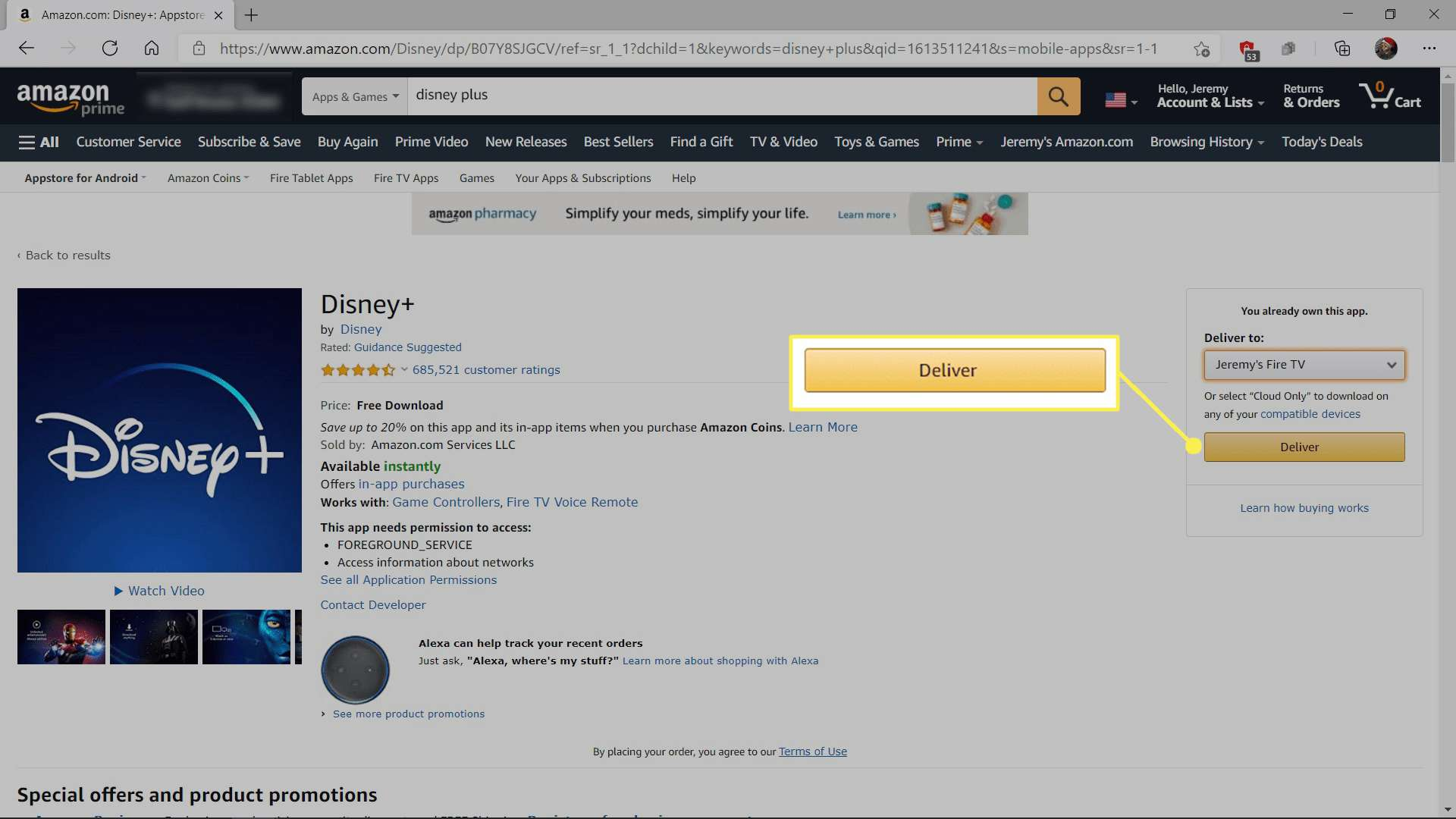 Getting Disney+ from Amazon for Fire TV with Deliver highlighted