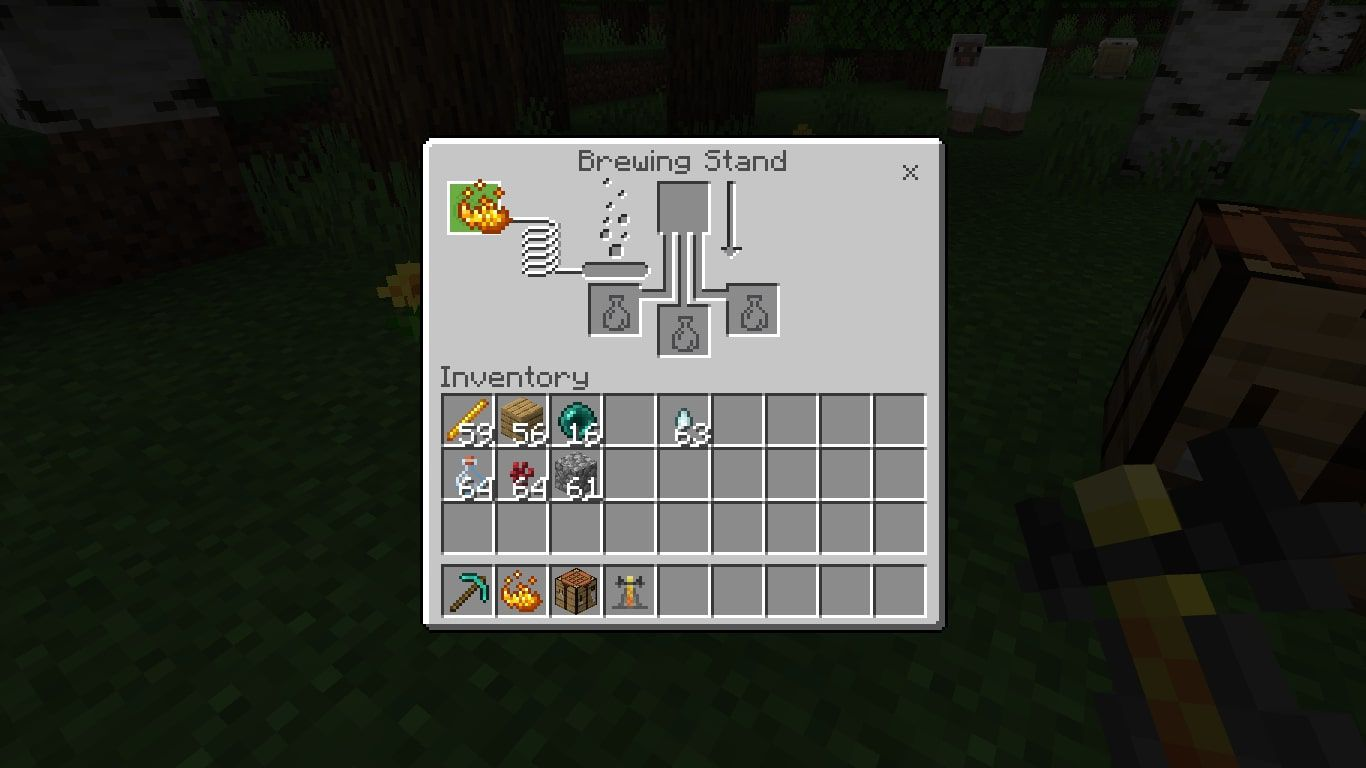 Add 1 Blaze Powder to the box in the upper-left corner to activate the Brewing Stand.