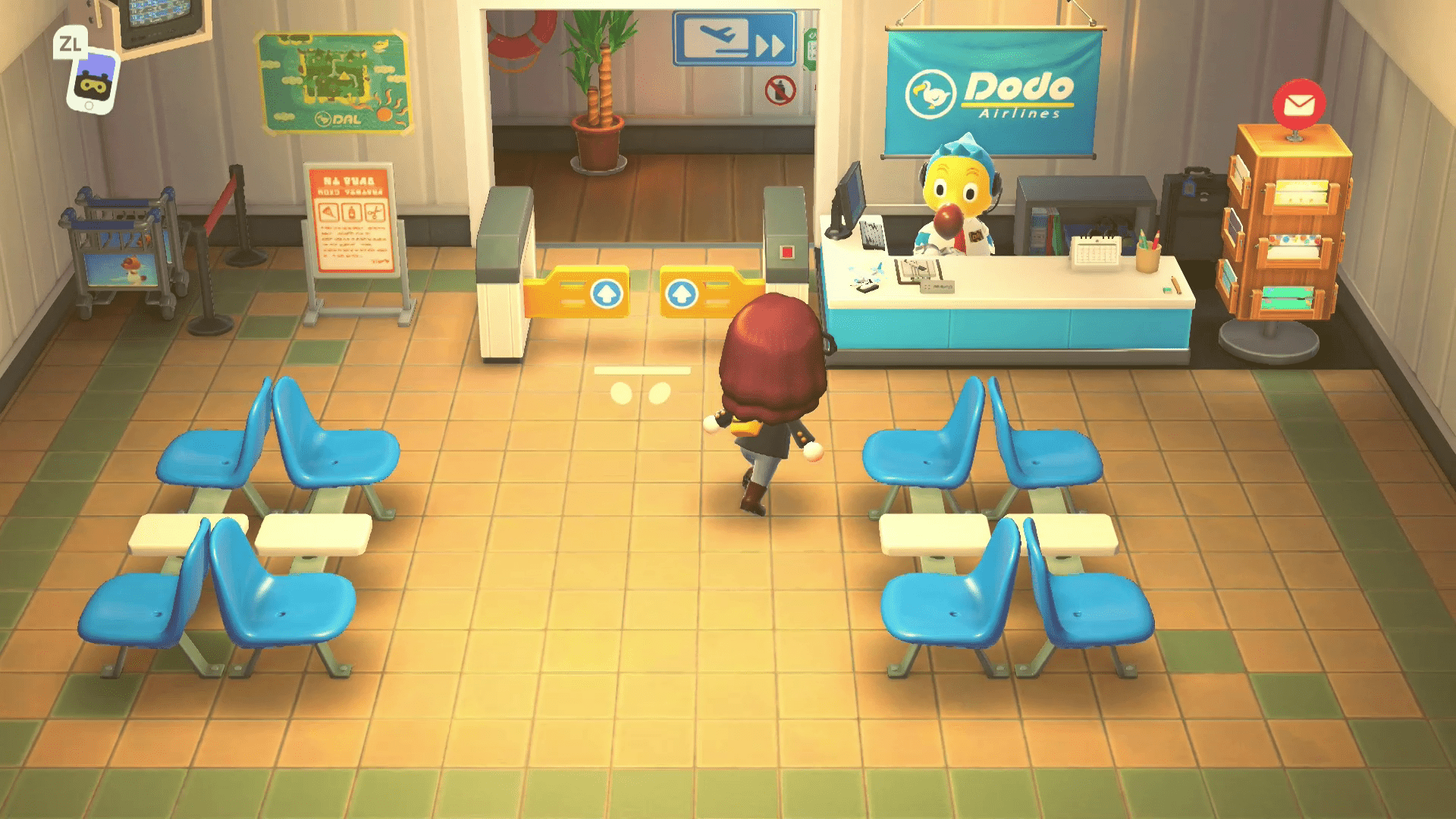 Orville at Dodo Airlines in Animal Crossing.