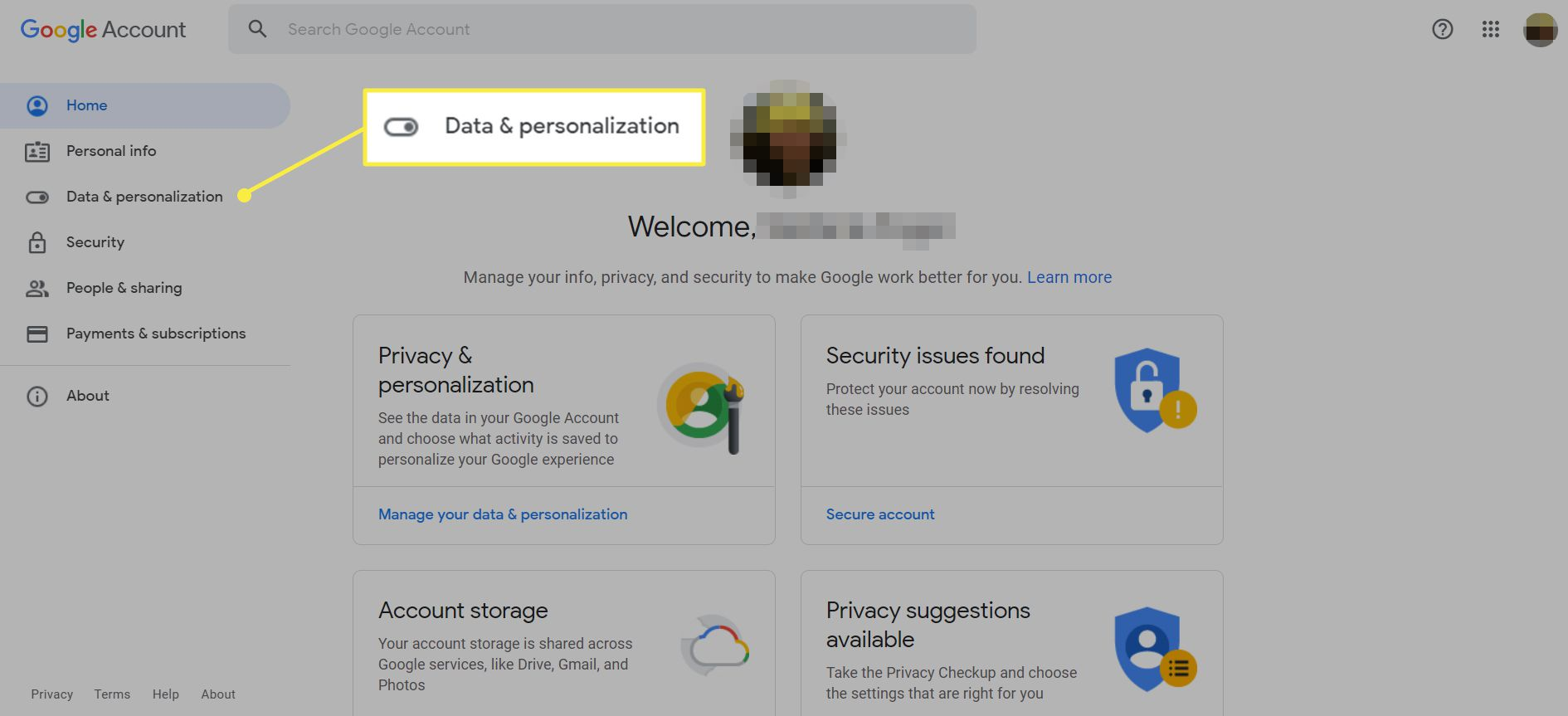 A Goggle account screen with 'Data & personalization' highlighted