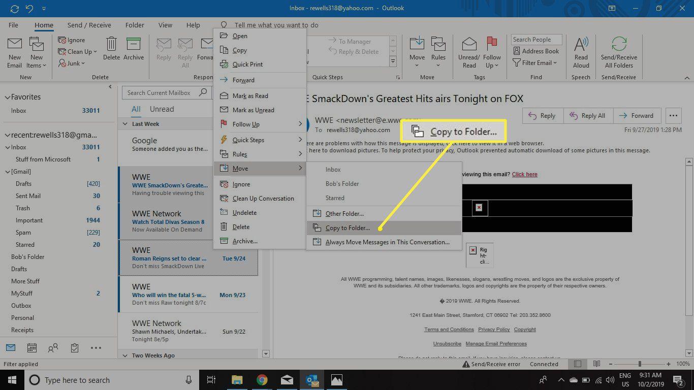copy to folder - context menu