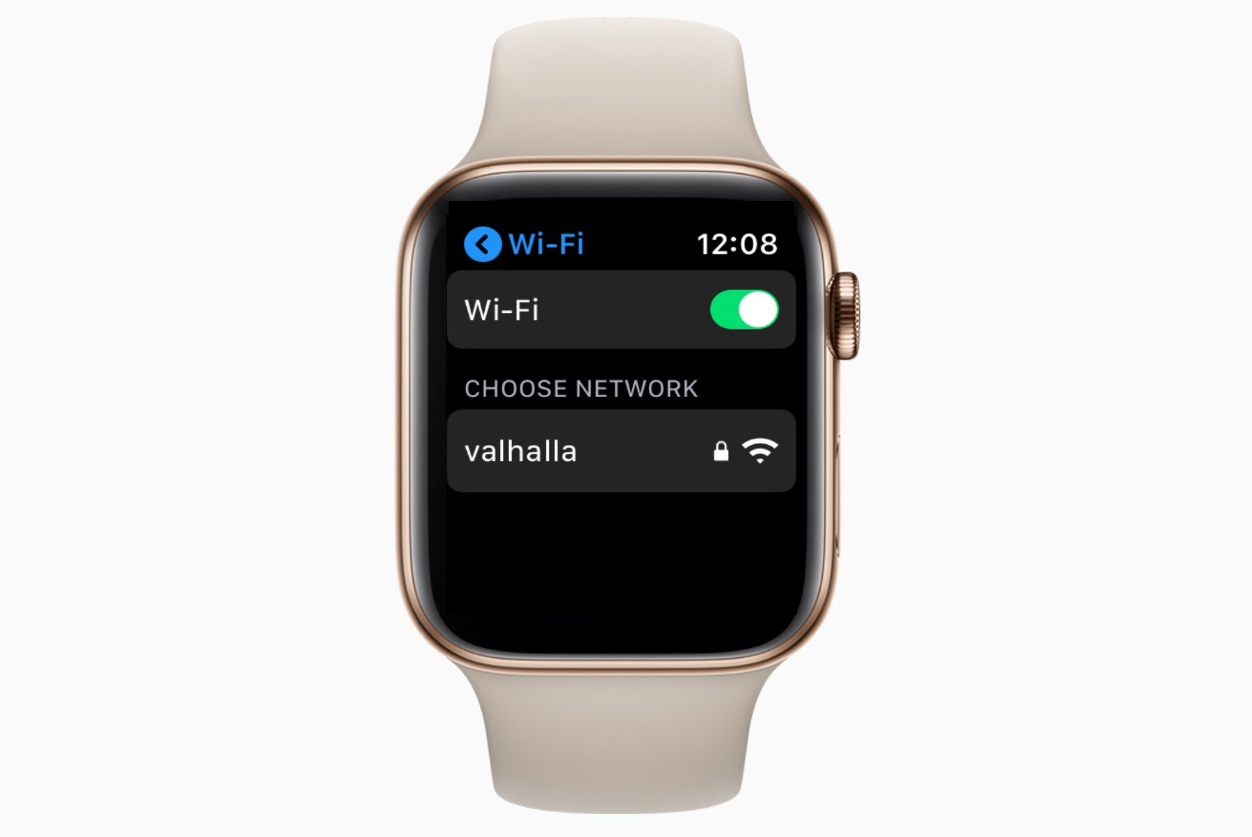 An Apple Watch with Wi-Fi settings open