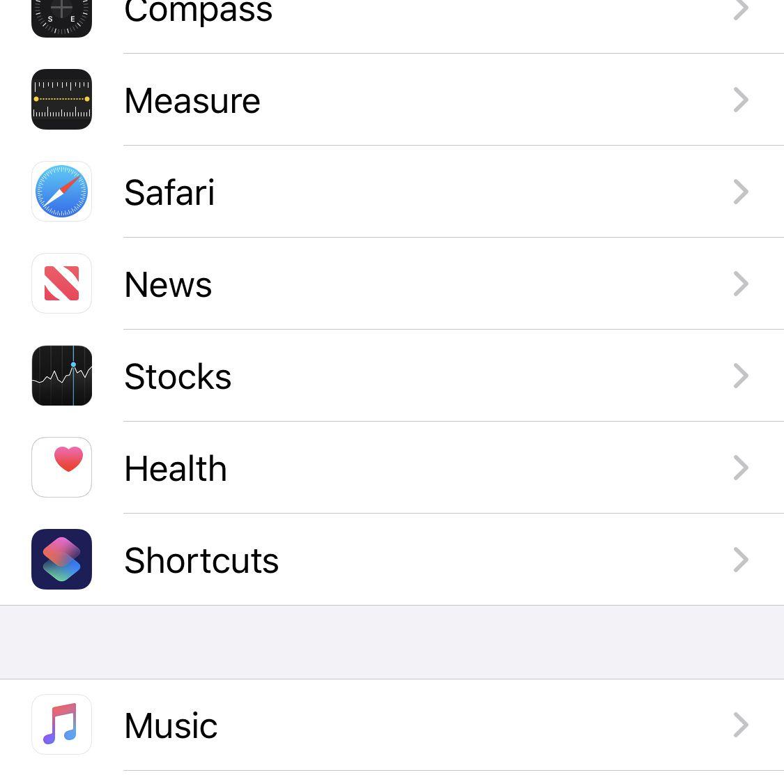 Screenshot of iOS Settings app