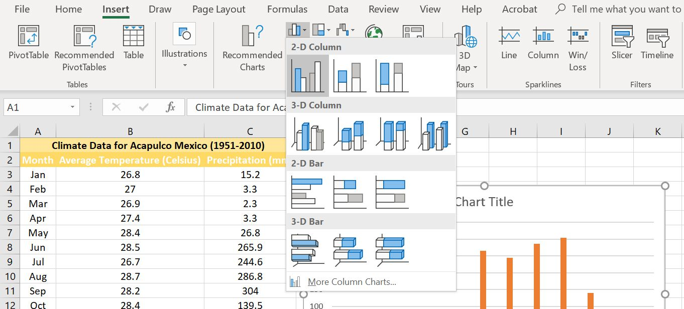 2-D cluster column chart selected from the Excel menu