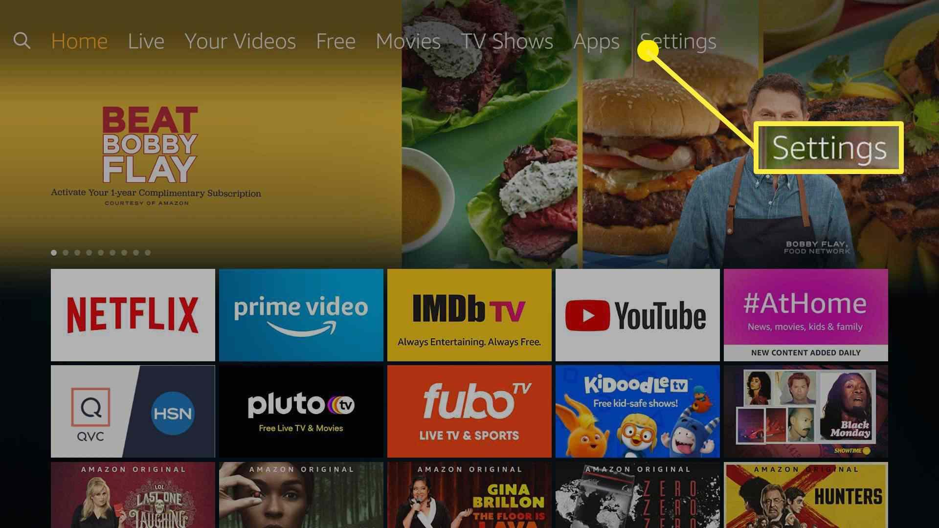 The Settings option on Amazon Fire TV Stick.