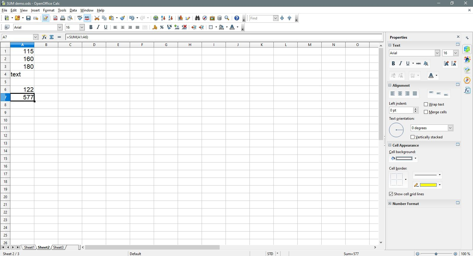 The summed total is completed in OpenOffice Calc.
