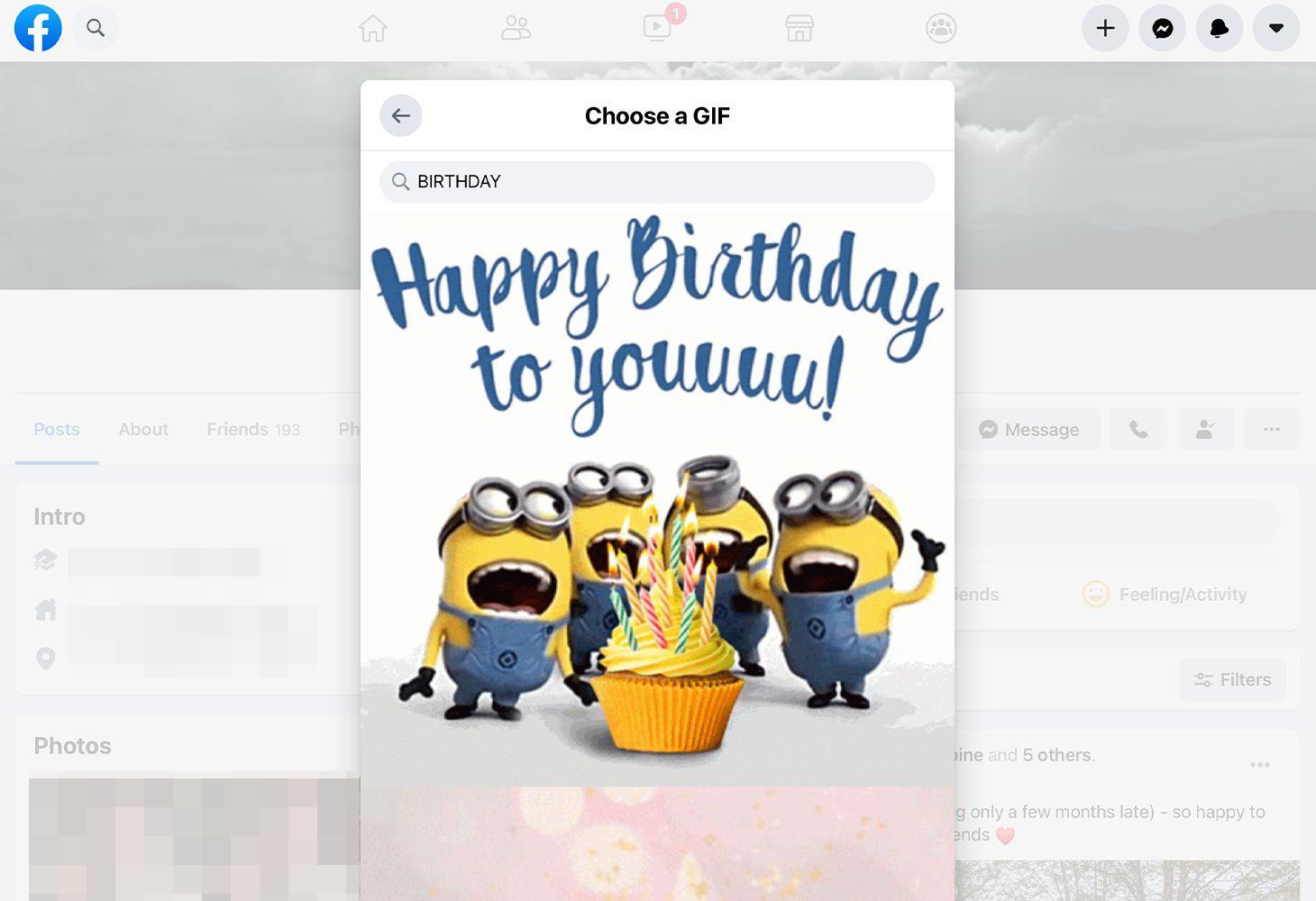 Happy Birthday GIF on Facebook