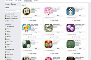 Screenshot of Facebook Board Games