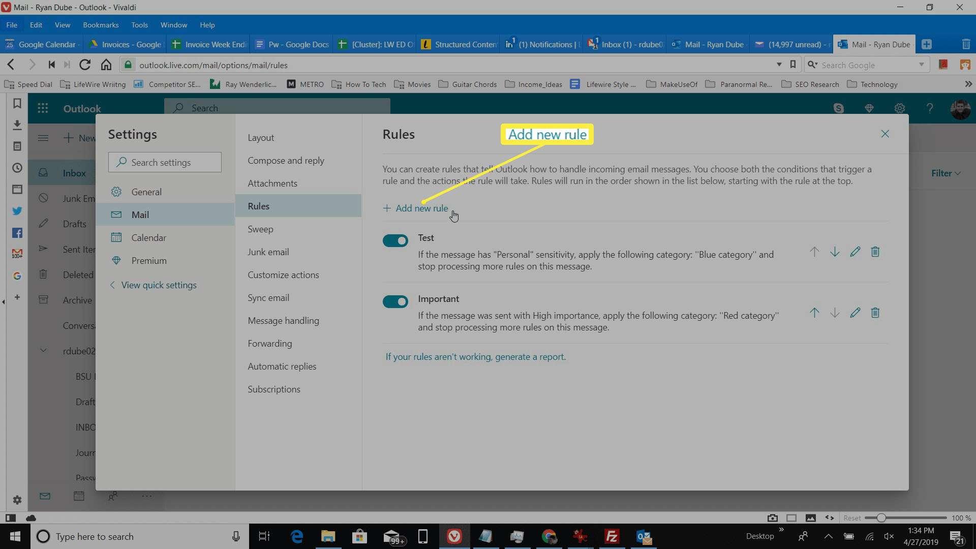 Screenshot of Add new rule in Outlook online.