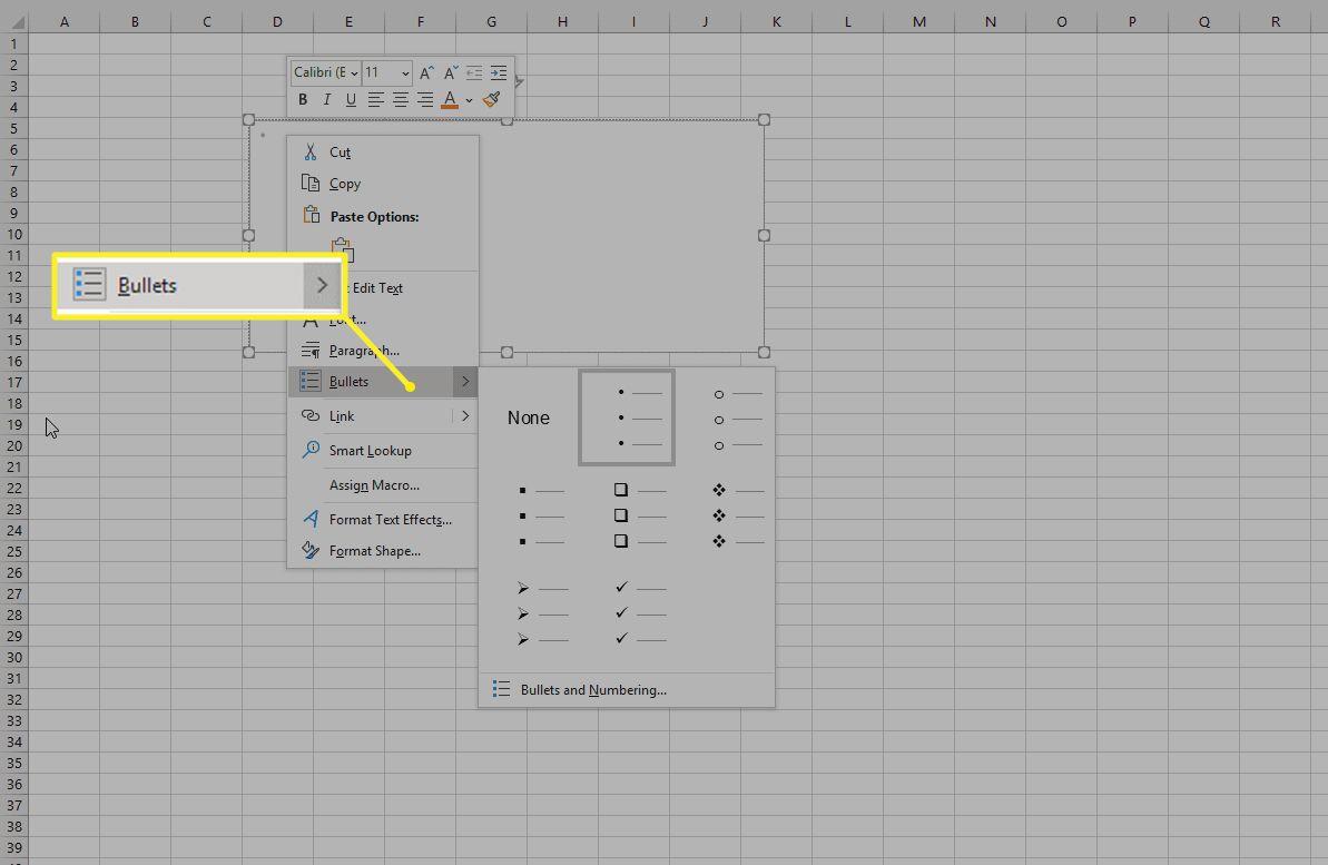 Excel Bullets menu