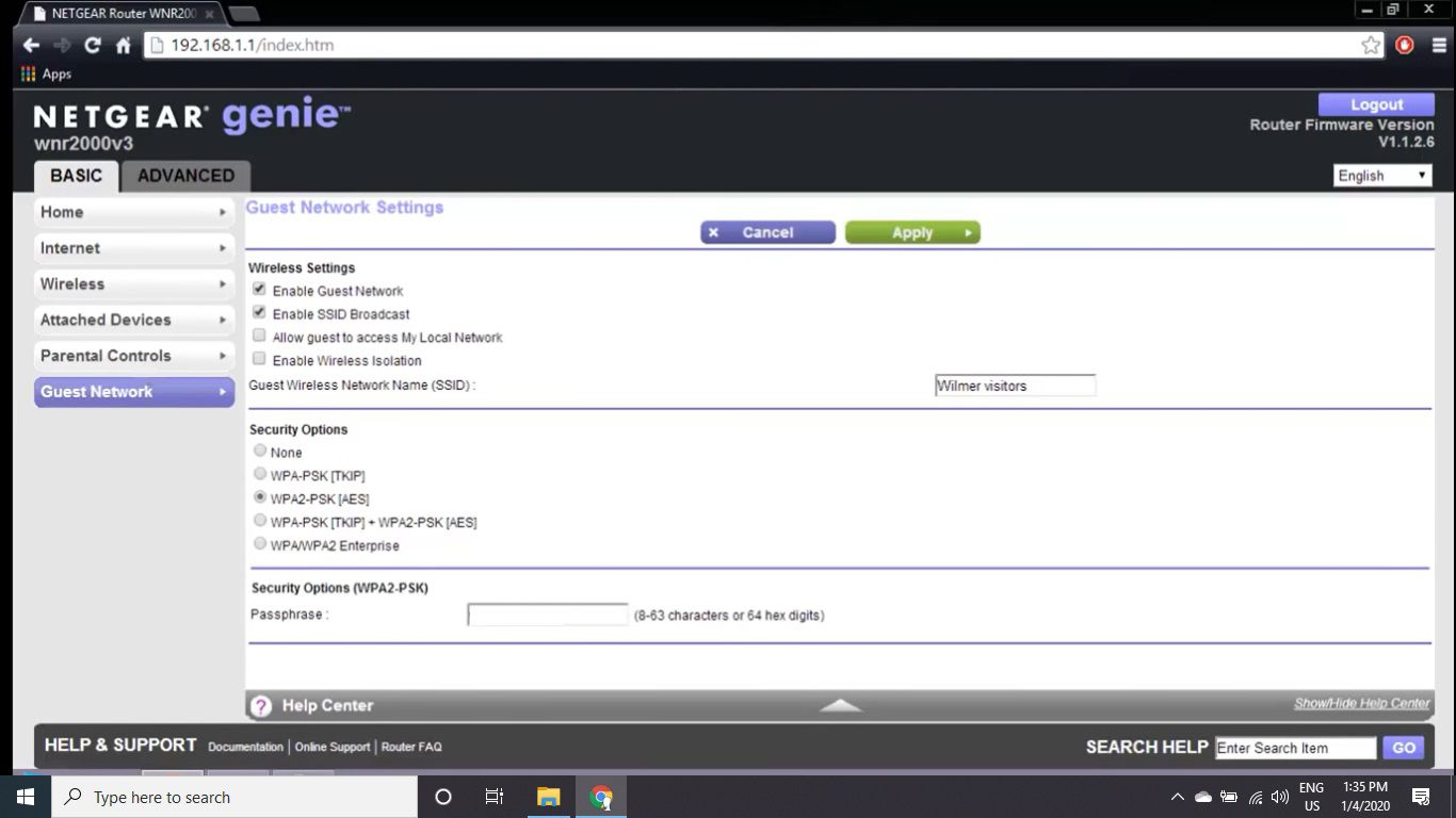 Neatgear router WPA security options