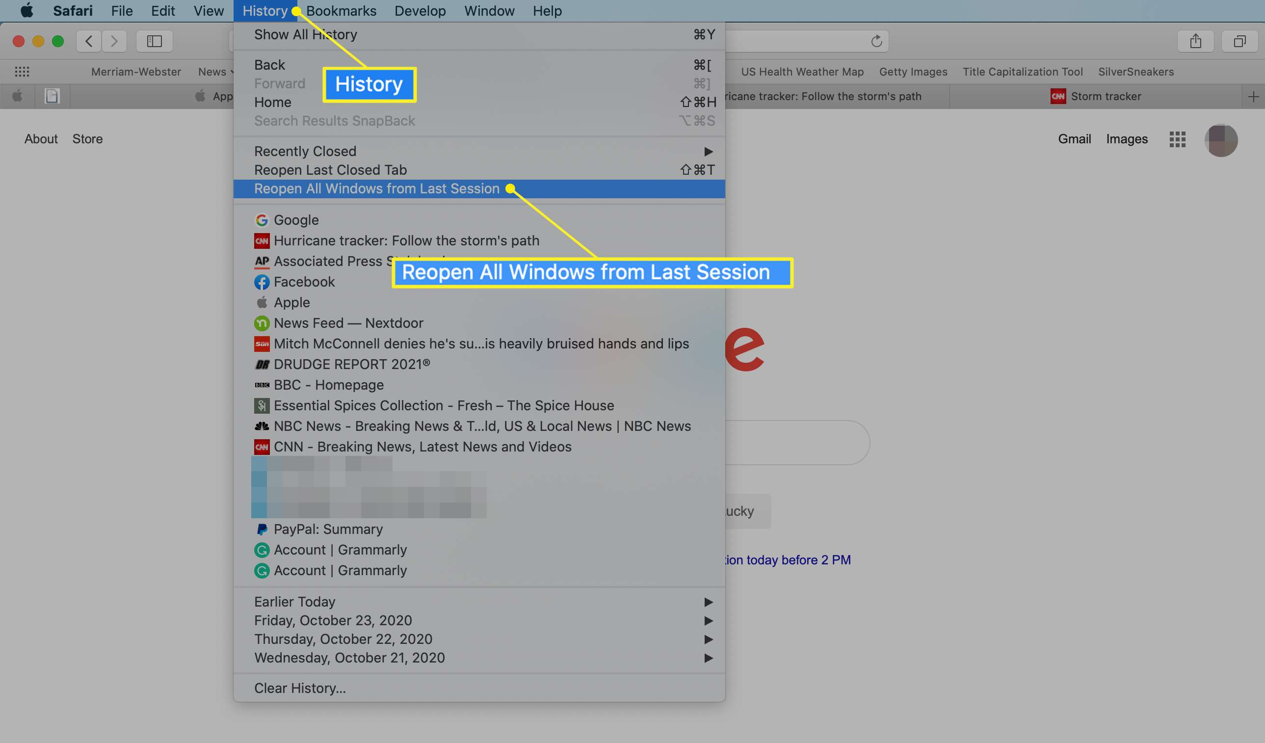 Safari History menu with reopen all windows from last session highlighted