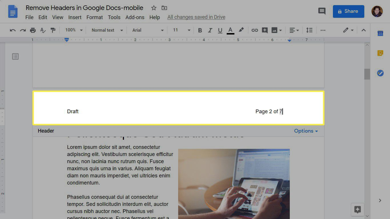 A formatted header with page numbers in Google Docs