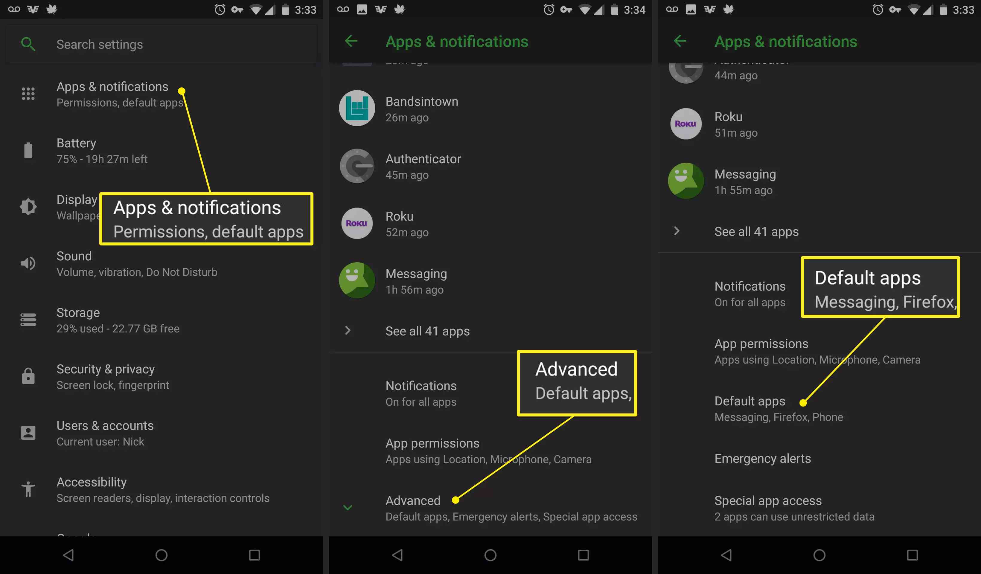 Apps & notifications in Android Settings