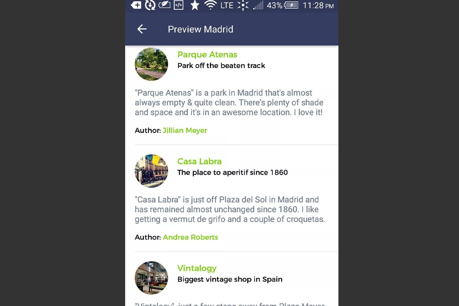 A city guide preview on the Spotted by Locals app