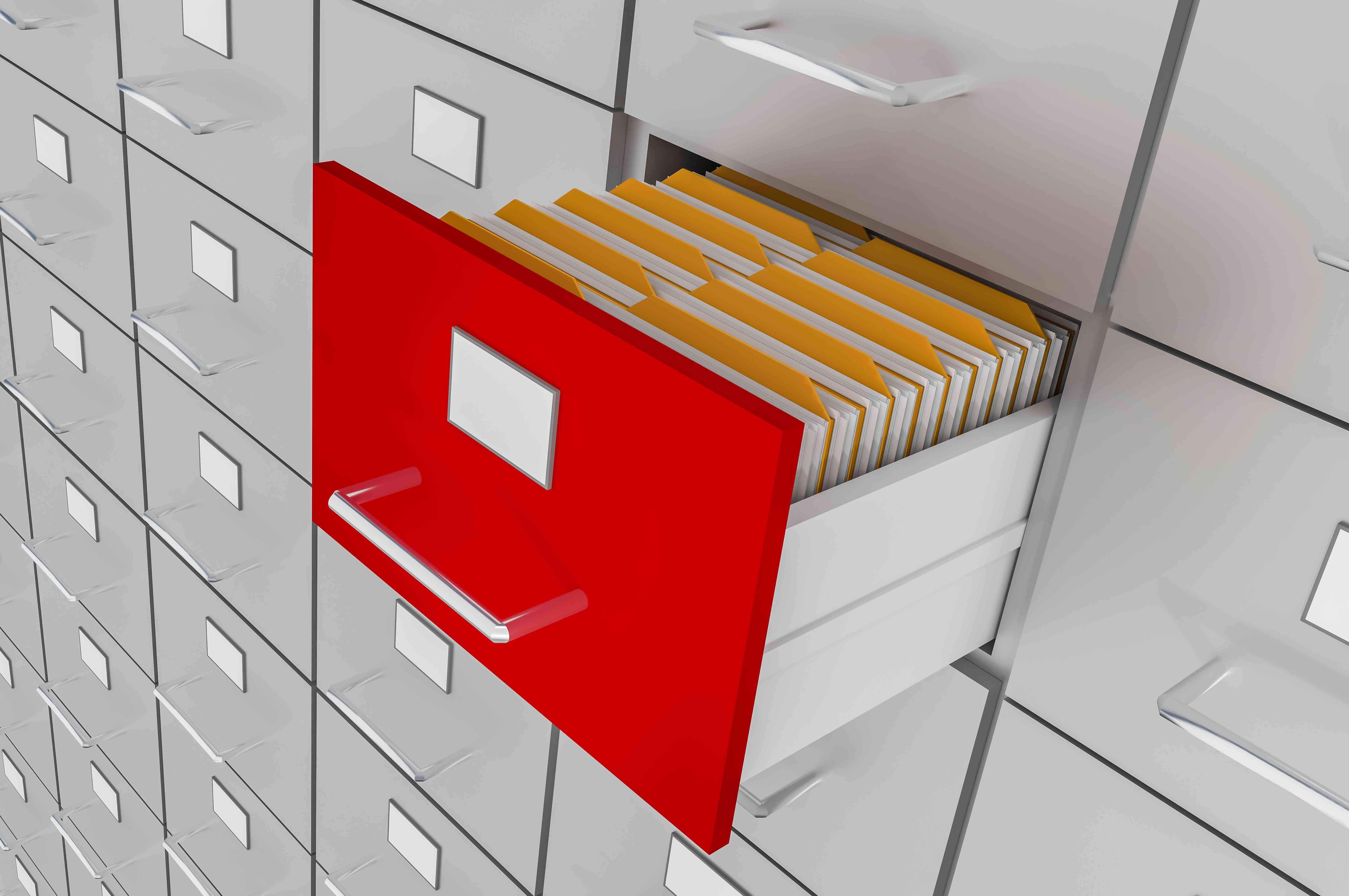 Open file cabinet with files inside