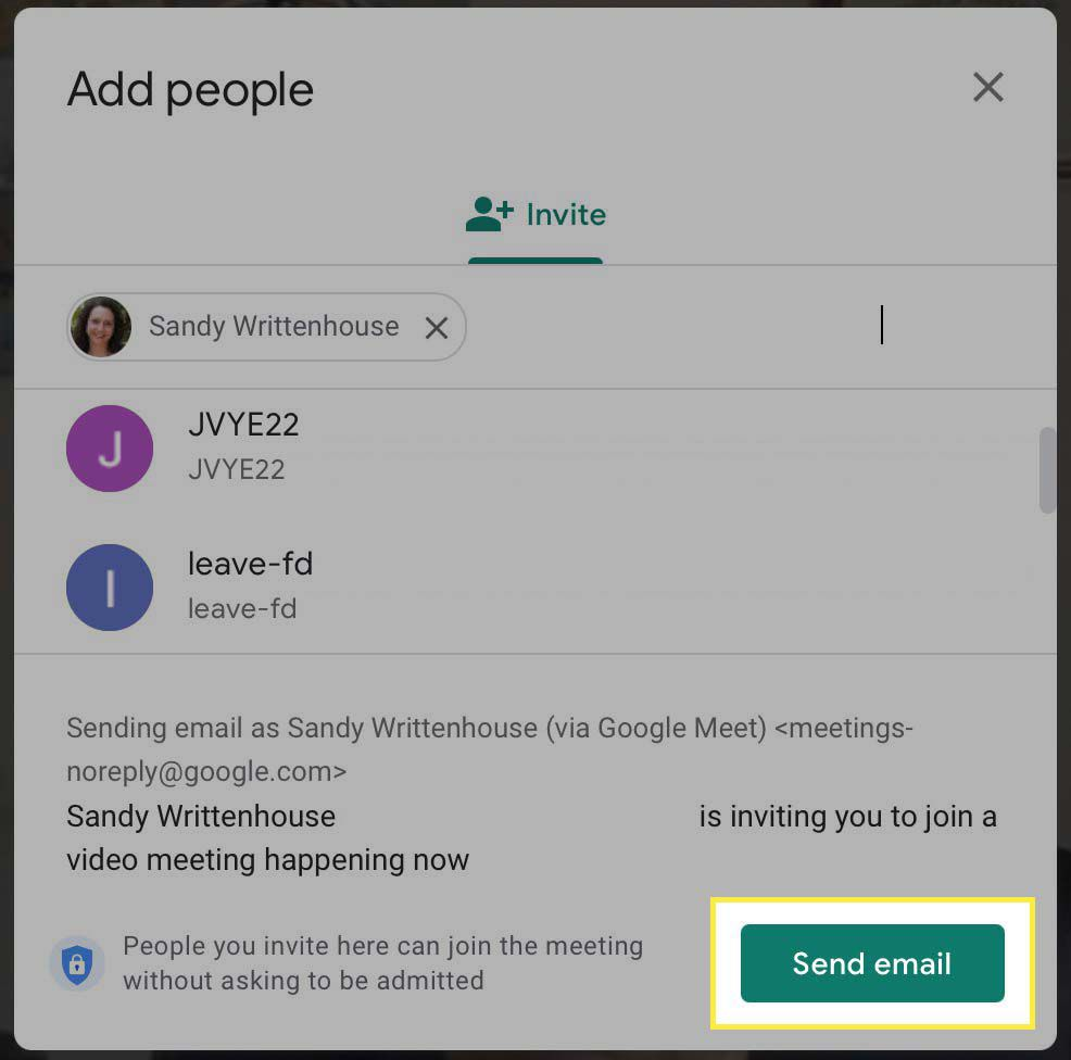 The Send email button highlighted in the invite screen for Google Meet.